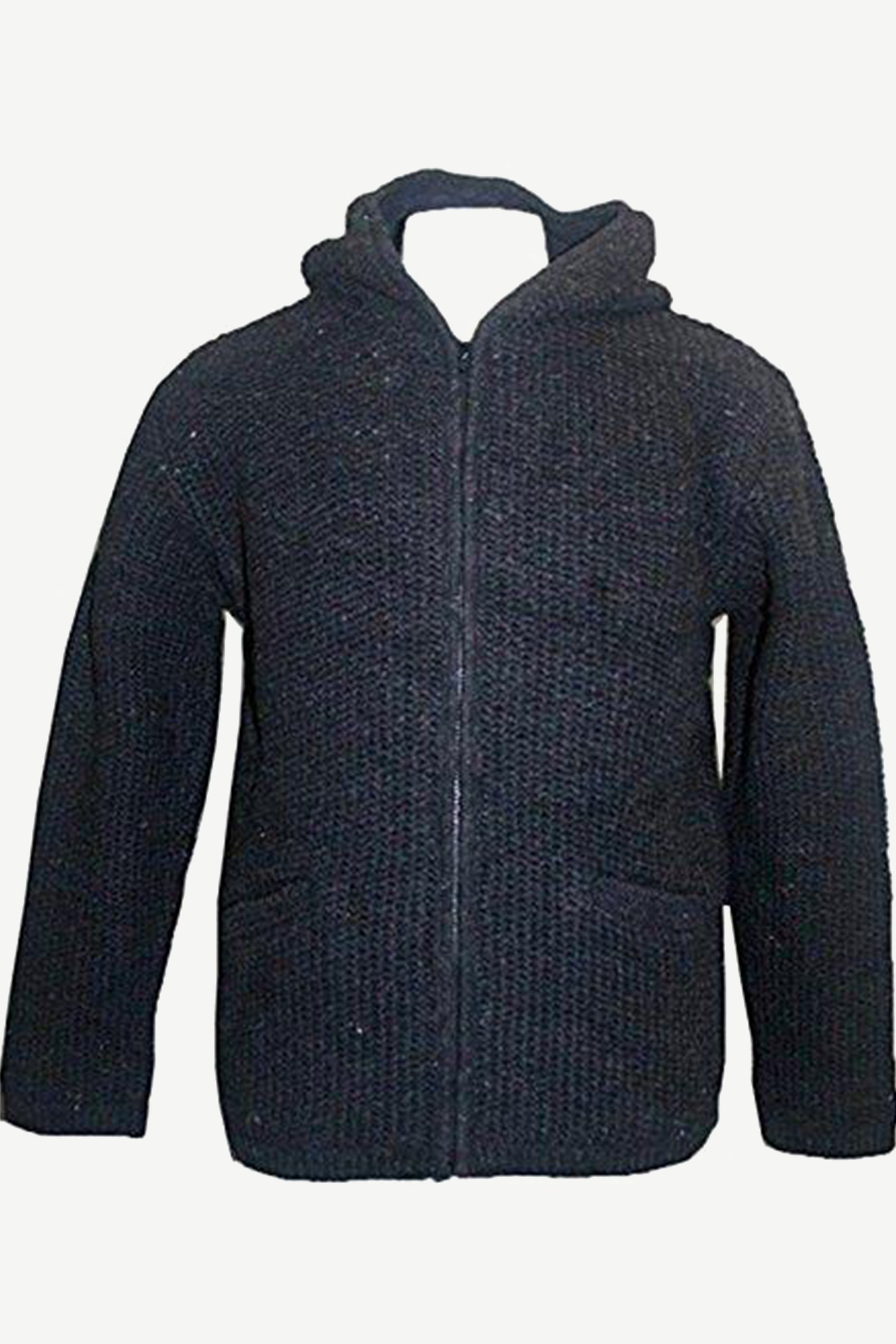 UF 5 Himalayan Lamb's Wool Warm Fleece Hoodie Sweater Coat Jacket - Agan Traders, Charcoal