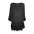 304 B Scooped Neck Ruffle Hem Bohemian Tunic - Agan Traders, Black