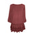 304 B Scooped Neck Ruffle Hem Bohemian Tunic - Agan Traders, Wine Burgundy