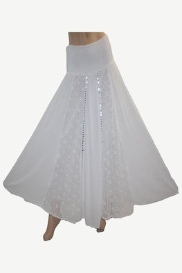 3706 Skt White Cotton Bohemian Medieval Long Skirt
