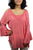 3809 B Cold Shoulder Stylish Embroidered Patched Tunic Blouse - Agan Traders, Peach