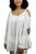 3809 B Cold Shoulder Stylish Embroidered Patched Tunic Blouse - Agan Traders, White