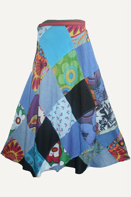 Flower Diamond Patchwork Wrap Skirt - Agan Traders, Multi 5