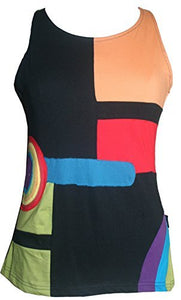 RT 828 Agan Traders Nepal Bohemian Gypsy Funky Knit Cotton Tank Top Blouse - Agan Traders