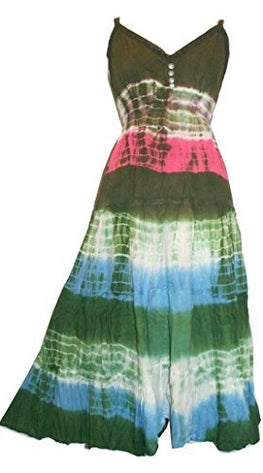 Tie Dye Fairy Gypsy Peasant Spaghetti Strap Dress - Agan Traders