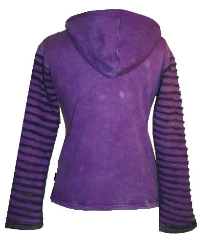 Patch Funky Fleece Lined Bohemian Razor Cut Embroidered Jacket - Agan Traders, Purple