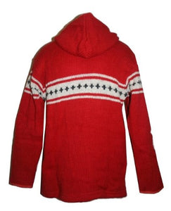 Lambs Wool Fleece Winter Sherpa Hoodie Sweater Jacket - Agan Traders, Red
