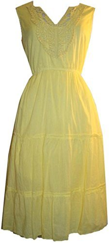 9999 D Agan Traders Soft Cotton Casual Summer Dress - Agan Traders, Yellow