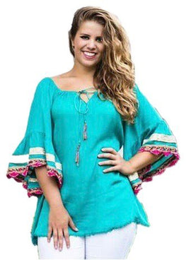 Rayon crape Bohemian Medieval Bell Sleeve Embroidered Rope Tie Tunic Blouse - Agan Traders, Ocean Green