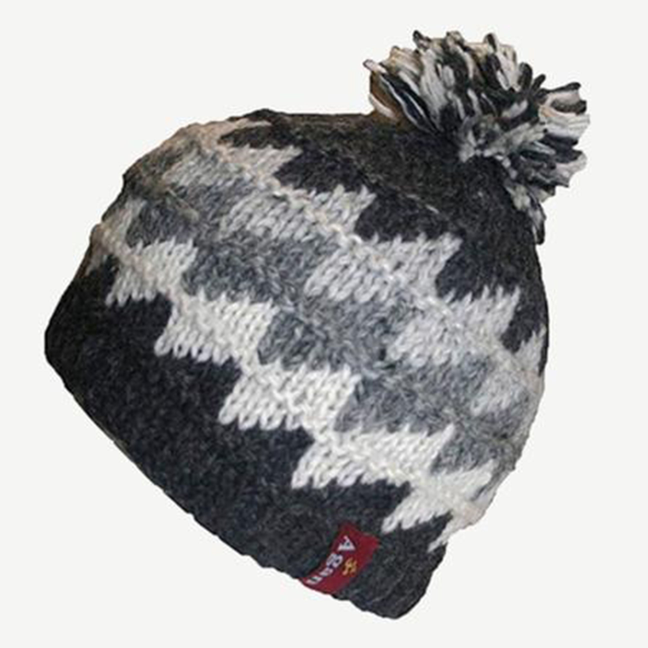 Two Tone Knit Crochet Chaal Hat Small & Medium - Agan Traders, Charcoal