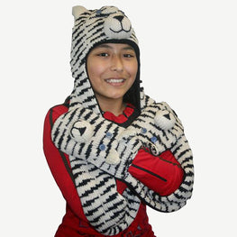 Animal Hat Combo Winter Fleece Headwear with Long Scarf and Mitten