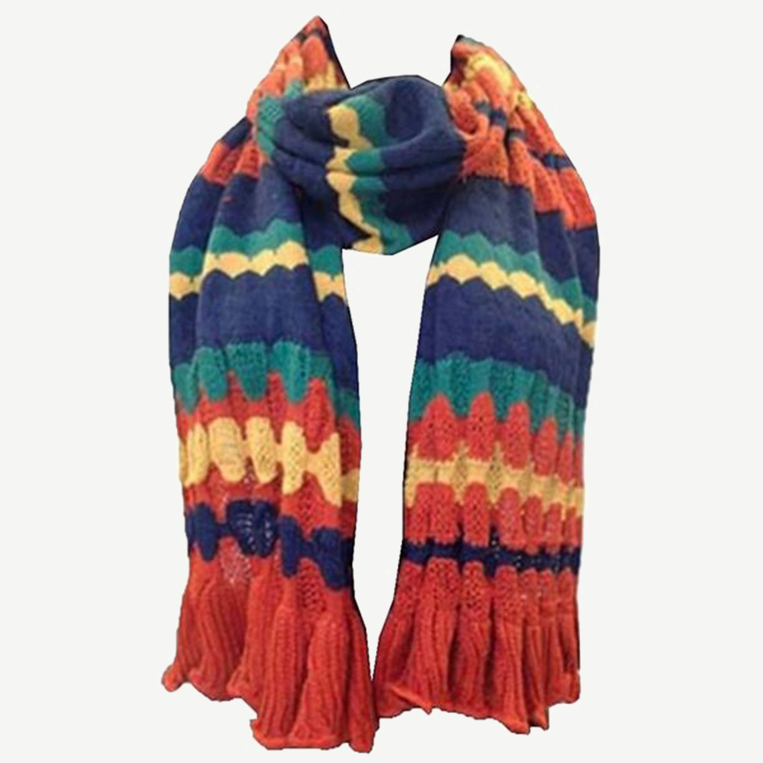 Knitted Waves Trendy Stylish Warm Soft Scarf Stole Multiple Colors