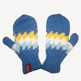Two Tone Knit Crochet Chaal Folding Glove/Mitten - Agan Traders, 1415 MT Blue