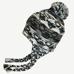 1408 H Nepal Highland Cable Knit Beanie Earflap Newari Hat