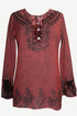 502 B Exotic Rich Velvet Rayon Embroidered Top Blouse