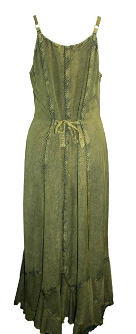 Rayon Embroidered Scalloped Hem Gypsy Spaghetti Strap Dress - Agan Traders, Lime