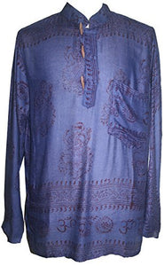 Goddess Script Printed Yoga Tunic Rayon Shirt - Agan Traders, Royal Blue