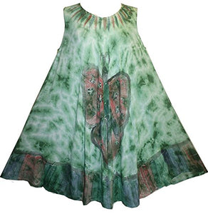 Butterfly Rayon Tie Dye Light Weight Umbrella Mid Length Dress ~ One Size - Agan Traders, Green