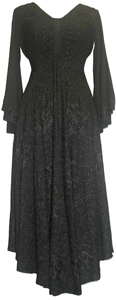 V Neck Embroidered Butterfly Bell Sleeve Flare Mid Calf Dress - Agan Traders, Black
