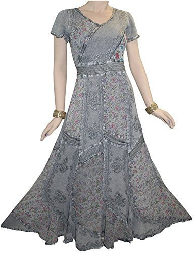 DR 592 Agan Traders Renaissance Vintage Mega Sleeve Long Dress - Agan Traders, Silver / Gray 1