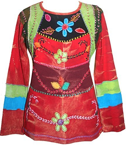 Rib Cotton Tie Dye Embroidered Floral Bohemian Gypsy Top Blouse - Agan Traders, Red