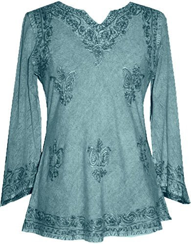 Embroidered Rayon Renaissance Blouse - Agan Traders