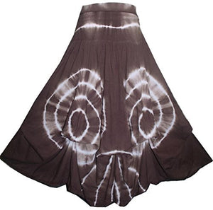 Convertible Ripple Tie Dye Unique Long Knit Cotton Skirt - Agan Traders, Choco Circular