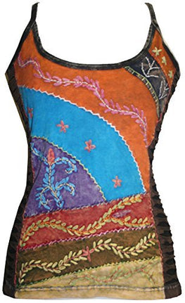R 123 Rib Cotton Vibrant Boho Patch Tank Top Blouse - Agan Traders