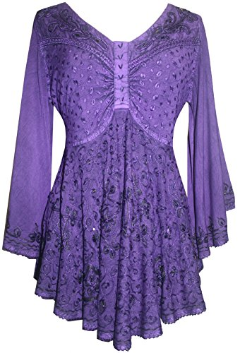 Medieval Butterfly Bell Sleeve Flare Blouse - Agan Traders, Purple
