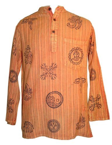 Mandarine Collar Style Auspicious Symbol Light Weight Cotton Shirt Tunic Nepal - Agan Traders