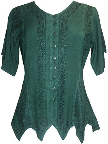 Gypsy Medieval Netted Assymetrical Vintage Top Blouse - Agan Traders, H Green