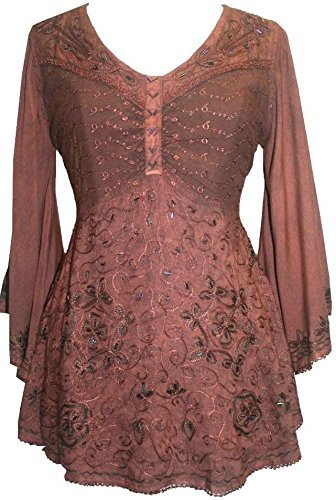 Medieval Butterfly Bell Sleeve Flare Blouse - Agan Traders, Rust Brown