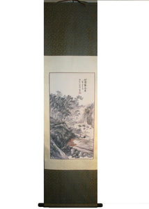 Chinese Wall Art Painting Silk Hanging Scroll (15 X 53 inches) - Agan Traders