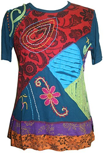 Rib Soft Viscose Light Weight Patch Embroidered T-shirt Top Blouse - Agan Traders, Multicolor