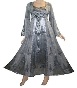 Rayon Satin Medieval Gothic Renaissance Corset Bell Sleeve Dress Gown - Agan Traders, Silver