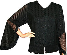 Embroidered Netted Ruffle Sleeve Blouse - Agan Traders, Black