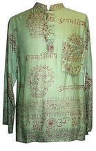 Goddess Script Printed Yoga Tunic Rayon Shirt - Agan Traders, Green