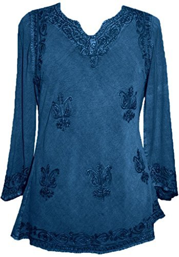 Embroidered Rayon Renaissance Blouse - Agan Traders, Blue