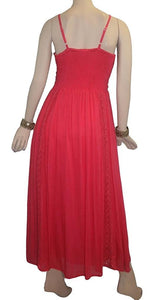 Rayon Crape Medieval Peasant Net Spaghetti Strap Dress - Agan Traders, Coral