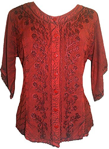 Scooped Neck Medieval  Embroidered Blouse - Agan Traders, B Red