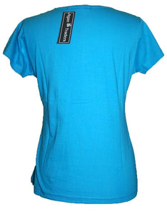 Ying Yang Embroidered Stretchy Yoga Tee - Agan Traders, Turquoise