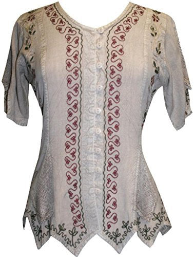 Gypsy Medieval Netted Assymetrical Vintage Top Blouse - Agan Traders, Beige