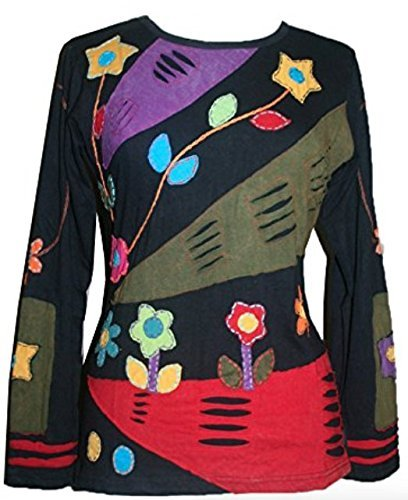Rib Cotton Funky Patch Retro Top Tees Shirt Blouse - Agan Traders, Black Red