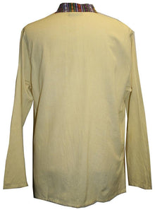 Lightweight Cotton Yoga Casual Shirt Mandarin Henley Style - Agan Traders, Yellow