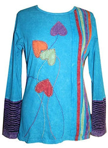 CTLS 002 Agan Traders Knit Cotton Boho Gypsy Knit Retro Top Blouse - Agan Traders, Turquoise