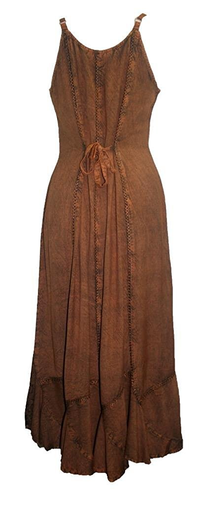 Rayon Embroidered Scalloped Hem Gypsy Spaghetti Strap Dress - Agan Traders, Rust
