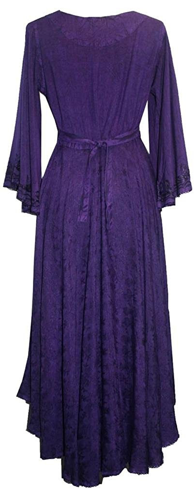V Neck Embroidered Butterfly Bell Sleeve Flare Mid Calf Dress - Agan Traders, Purple