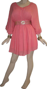 Rayon Crape Medieval Peasant Gothic Short Baby Doll Dress - Agan Traders, Peach