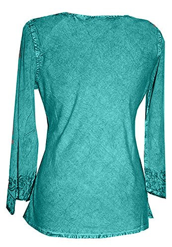 Embroidered Rayon Renaissance Blouse - Agan Traders, Turquoise