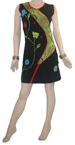 Soft Bohemian Gypsy Knit Cotton Patched Printed  Knee Length Dress - Agan Traders, Olive Black